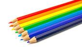 Lápices de arco iris en blanco — Foto de Stock