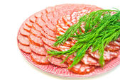 Sausage on plate close-up — Stock Photo