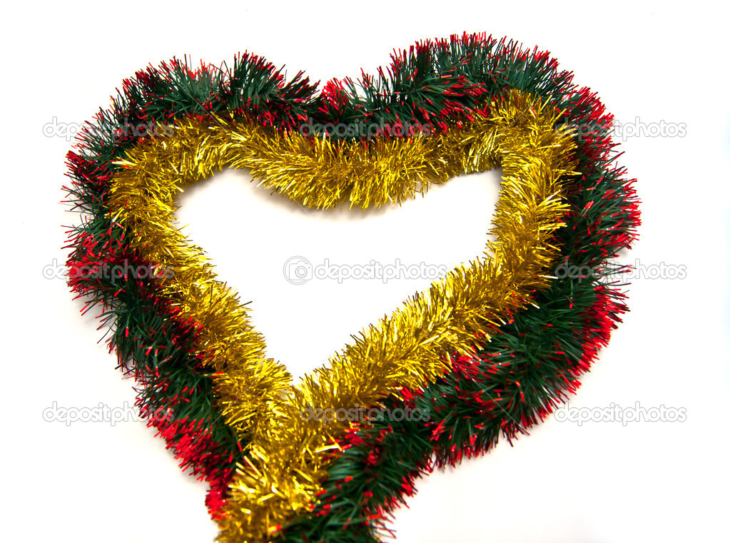 Golden tinsel heart on white background — Stok fotoğraf #10018782