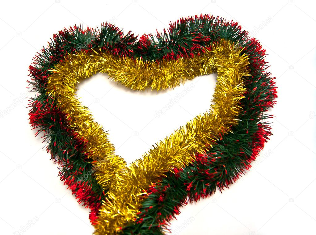 Golden tinsel heart on white background — Stock fotografie #10018782