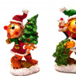 Two statues of Christmas tigers — Stock Photo #8089833