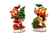 Dos estatuas de los tigres de navidad — Foto de Stock