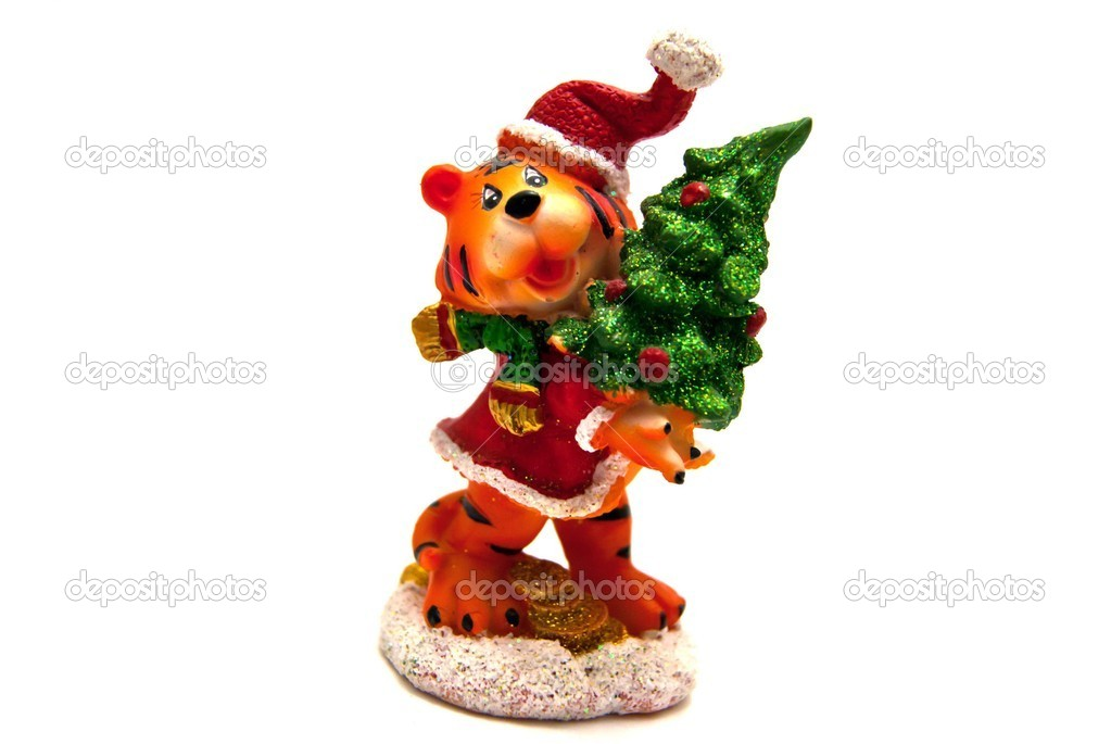 Tiger Cristmas statuette — Stock Photo #8089852