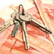Keys and banknotes background - Photo