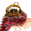 Cristmas basket with money gift - Stock Photo