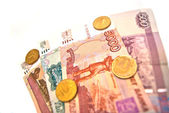 Coins and banknotes of Russia — Stock Photo