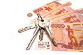 Keys and Russian banknotes — Stock Photo