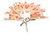Tree of banknotes and house keys — Stock Photo