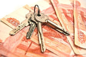 Keys and banknotes background — Stock Photo