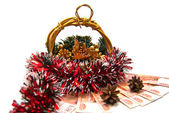 Cristmas basket, money and pinecones — Stock Photo