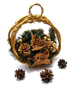 Three pinecones and Cristmas basket — Stock Photo