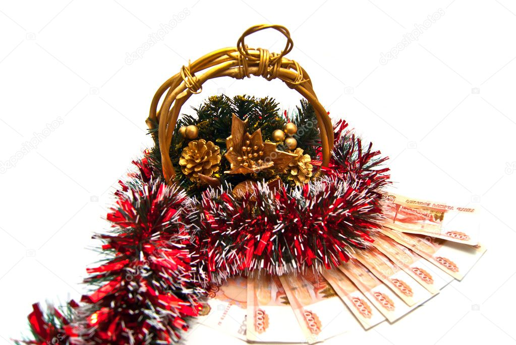 Cristmas basket with money gift on white  Stock Photo #8741784