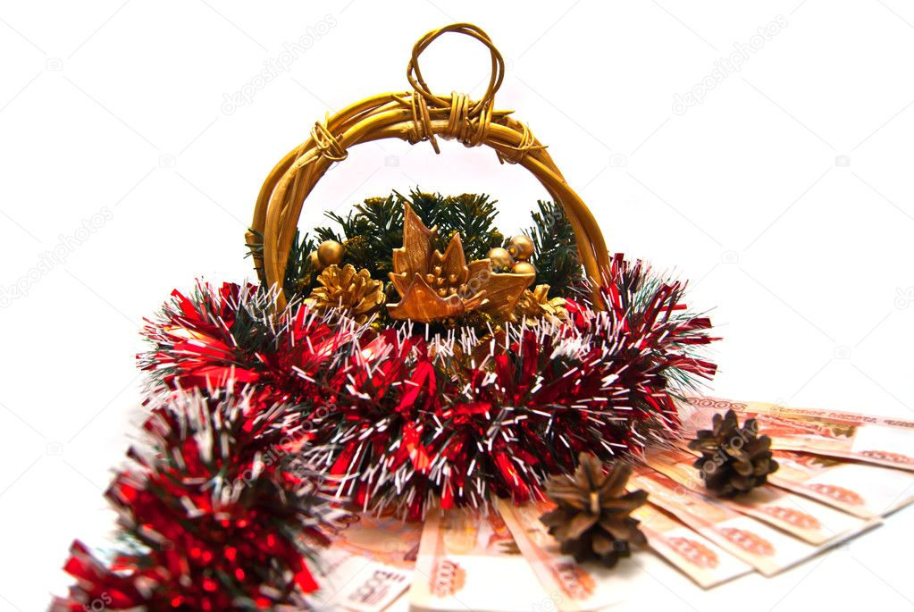 Cristmas basket, money and pinecones on white  Stock Photo #8741847