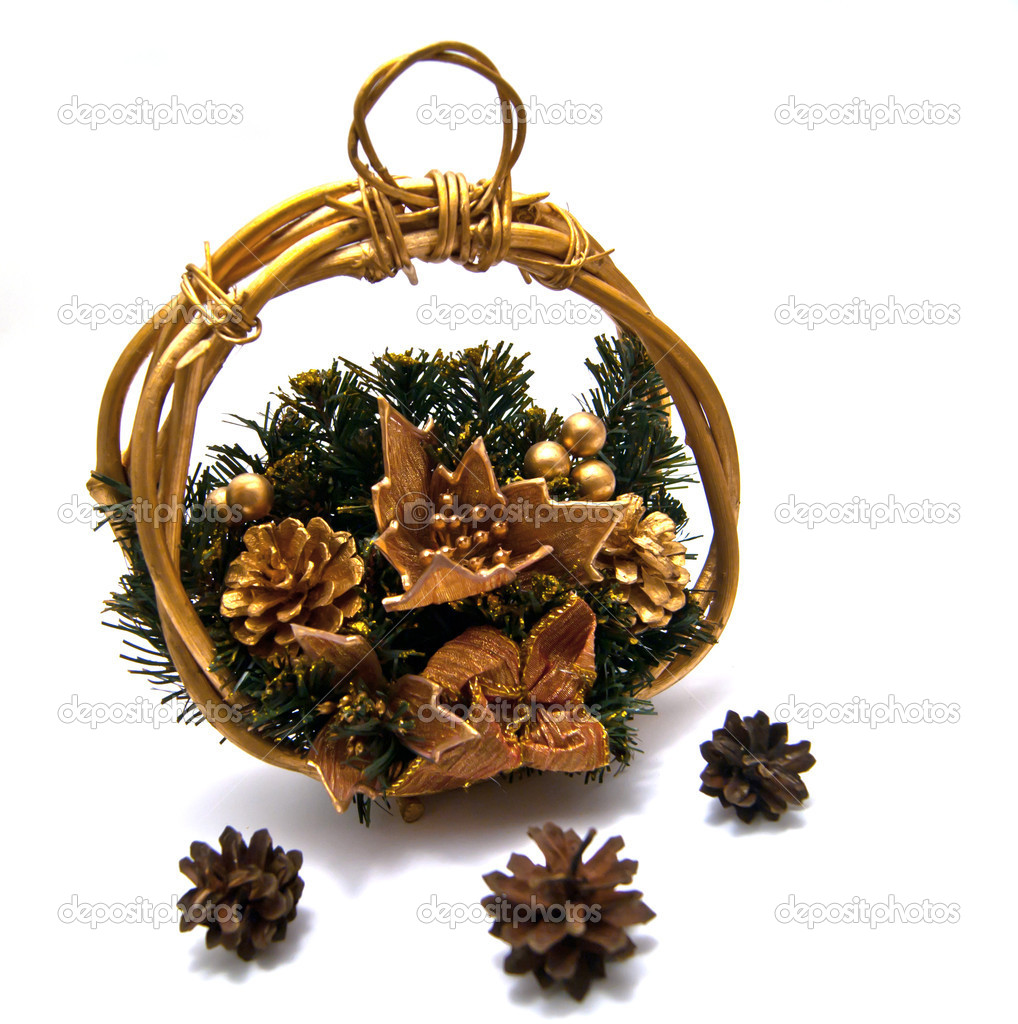 Three pinecones and Cristmas basket on white  Stock Photo #8741891