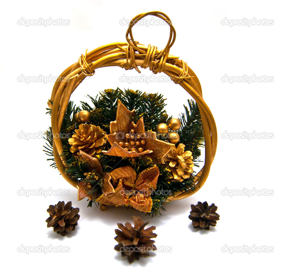 Cristmas basket with three pinecones on white — Stock Photo #8741899
