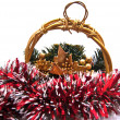 Gold Cristmas basket - Stock Photo
