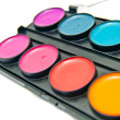 Box of watercolors close-up — Stockfoto
