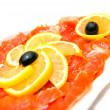 Fresh smoked salmon close-up — Stock Photo