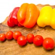 Cherry tomatoes and peppers — Stock Photo