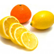 Lemon and tangerine close-up on white — Stock Photo