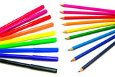 Different markers and pencils on white background — Stock Photo