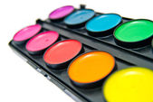 Box of colorful paints — Stock Photo
