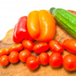Different vegetables on a cutting board close-up - Stock Photo