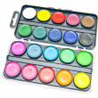 Box of colorful paints - Stock Photo