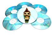 Piracy copy of the disc on white — Stock Photo
