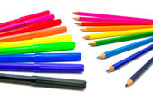 Colorful markers and pencils — Stock Photo