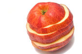 Red apple slices close-up — Stock Photo