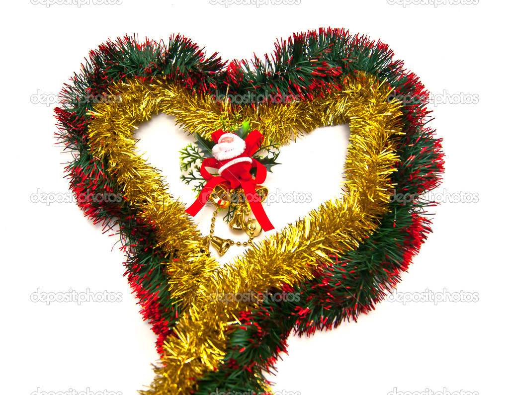Tinsel heart and Santa figurine on white — Stock Photo #9800132