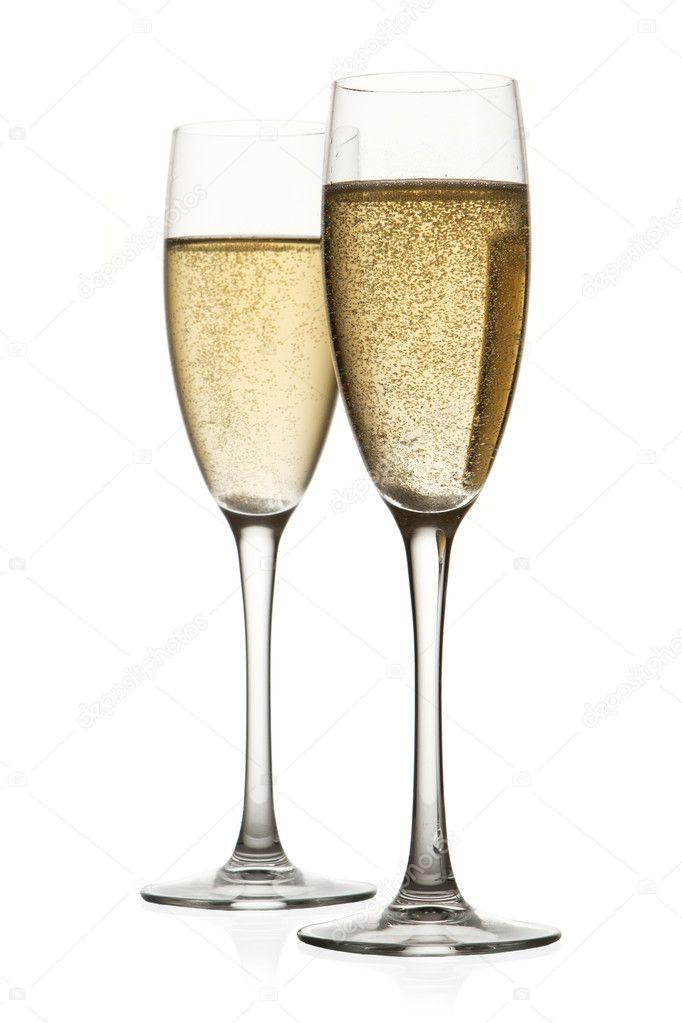 Dos copas de champagne aislado sobre fondo blanco foto for Copas para champagne