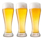 Beer into glass isolated on white. — Stock Photo