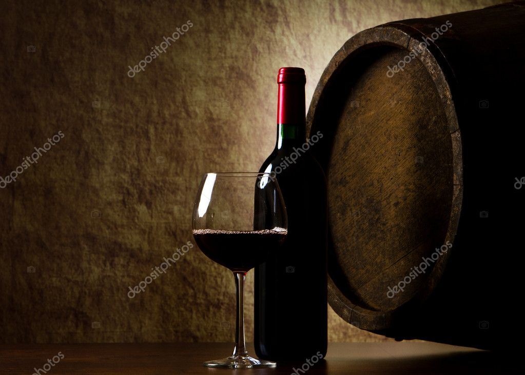 The still life with red wine, bottle, glass and old barrel — Stock Photo #8110489