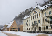 Vaduz - parliament of Liechtenstein and castle — Stock Photo