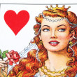 Stock Photo: Playing card queen view detail