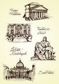 Hand drawn rome monuments — Stock Vector
