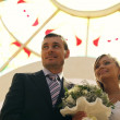 Happy bride and groom - Stockfoto