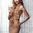 Lady with champagne - Stock Photo