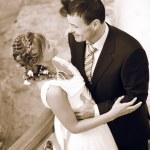 Newlyweds embraces — Stock Photo