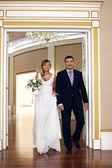 Happy bride and groom — Stock Photo