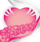 Corazón y flores en el día de San Valentín tarjeta — Vector de stock
