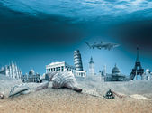 Landmarks underwater — Stock Photo