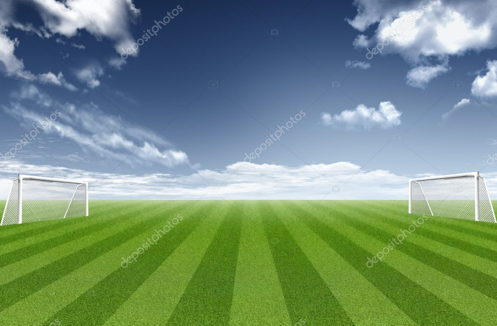 Football field with sky and clouds in the background — Stock Photo #10441653