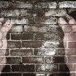 Hand  and the brick wall — Stockfoto