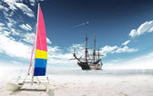 Sailing boat in the ocean — Stock Photo