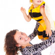 Mom and daughter in costume — Stock Photo