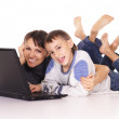 Mom and son with laptop — Stock Photo #7963782