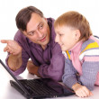 Dad and son with laptop — Stock Photo #7963845